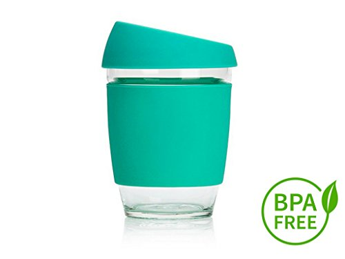 Tribex New Design 2018 Reusable Coffee Cup -Glass 12oz - Eco-Friendly - BPA Free - Espresso,Tea, Mug with Silicone Sleeve & Cover Lid- Environmentally Conscious - Dishwasher and Microwave Safe (Green)