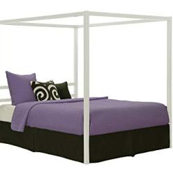 DHP Modern Canopy Bed with Built-in Headboard – Queen Size (White)