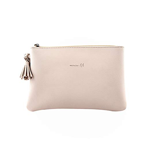 31Mu Hkb0vL - MINISO Simple Cosmetic Bag Portable Makeup Pouch for Womens Multifunctional Travel Storage Toiletry Bag(Beige)