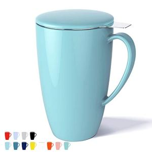 Sweese 201.102 Porcelain Tea Mug with Infuser and Lid, 15 OZ, Turquoise 4