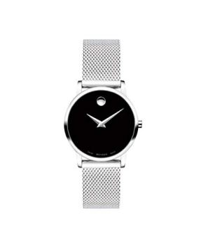 Movado Women's Museum Stainless Steel Watch with a Concave Dot Museum Dial, Black/Silver (607220)