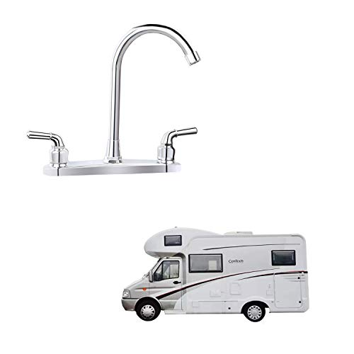RV Non-metallic Kitchen Faucet Two Handle-High Arch-8'-360 Swivel Replace For Motorhomes, Travel Trailers,Campers (8'HIGH ARCH)