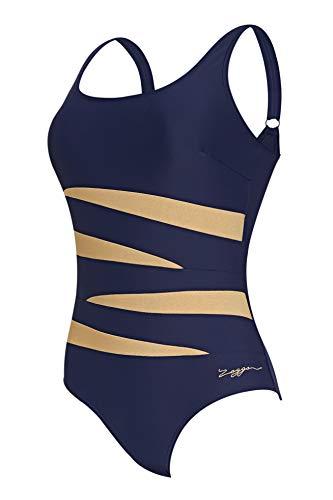Zoggs Metallix – Costume da Bagno Intero da Donna, con Spalline Regolabili, in Tessuto Ecologico, con Schiena scoopback…