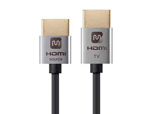 Monoprice High Speed HDMI Cable - 15 Feet - Silver| Active, 4K @ 60Hz, 18Gbps, 36AWG, YUV, 4:2:0 - Ultra Slim Series