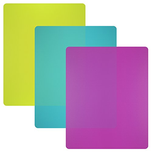 Nicole Home Collection Flexible Plastic Cutting Board Mats set, Colorful Kitchen Cutting Board Set of 3 Colored Mats
