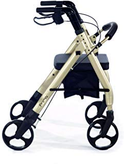 Comodità Prima Heavy-Duty Rolling Walker Rollator with Comfortable 15-Inch Wide Nylon Seat (Metallic Champagne)