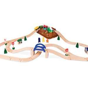 Battat – Wild Ridge Train – Classic Wooden Toy Train Set with Mountain Top Lid, Double-Sided Tracks, & Train Toys for Toddlers 3-Years-Old & Up (47Pc) 31P1e5kf 2BiL