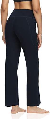 DIBAOLONG Womens Bootcut Yoga Pants Tummy Control with Pockets High Waist Long Workout Bootleg Leggings 3