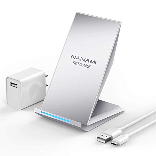 Fast Wireless Charger, NANAMI Qi Certified Wireless Charging Stand [with QC2.0 Adapter] Compatible iPhone X/XS/XR/XS Max/8/8Plus,10W Compatible Samsung Galaxy S10/S10+/S9/S9+/S8/S8+/S7/S7edge/Note9/8