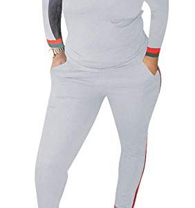 Top-Vigor Women 2 Pieces Sports Tracksuits Outfits Long Sleeve Top and Long Bodycon Pants Sweatsuits Set 7 Fashion Online Shop Gifts for her Gifts for him womens full figure