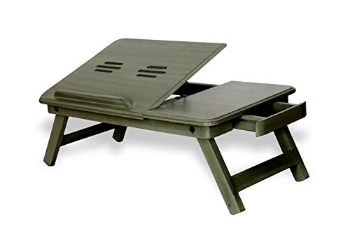 AMAZE SHOPPEE Multi-Purpose Foldable Portable Wooden Bed/Study/Laptop Table(Antique Green) 173