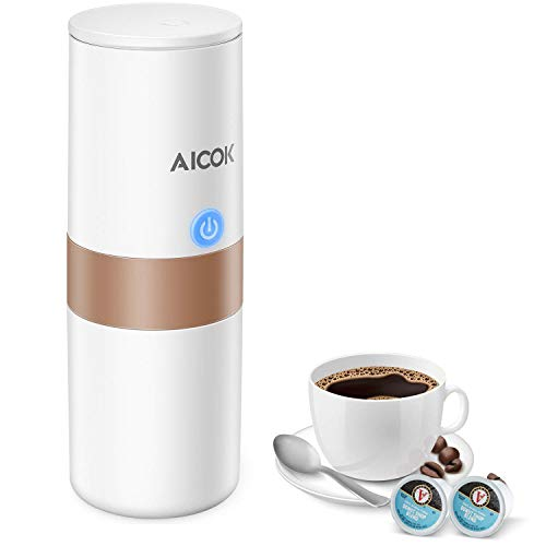 Aicok Portable Coffee Espresso Maker 1-Button-Operation, Heating Cool Water Brewing, Powder and K Cup Brewer, Perfect for Camping, Travel, Kitchen and Office