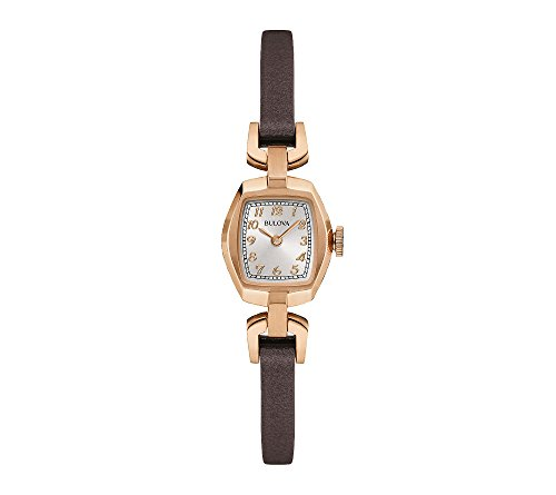 Featured in rose gold and dark brown Silver white dial Rectangle face