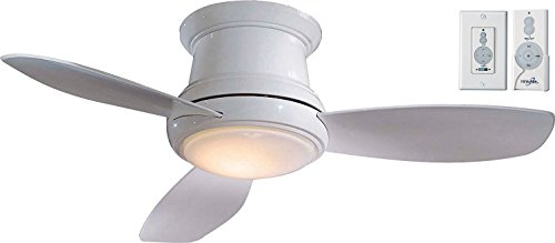 Minka-Aire F518L-WH, Concept II LED White Flush Mount 44' Ceiling Fan with Light and Wall & Remote Control Bundle