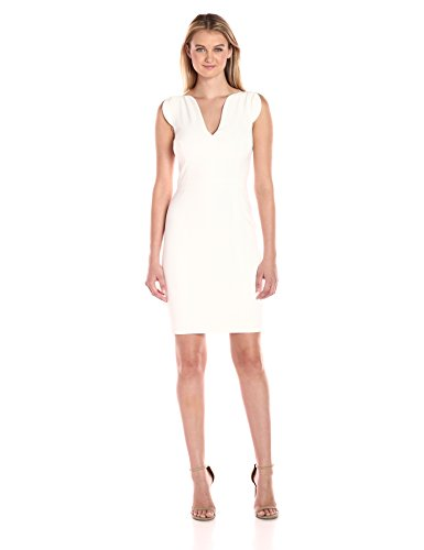 Stretch-to-fit dress Sleeveless v-neck short dress Cap sleeves. Concealed zip at the back