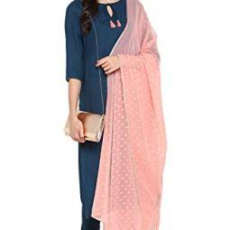 Janasya Women's Turquoise Blue Rayon Straight Kurta With Pant And Dupatta