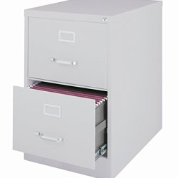 Office Dimensions Commercial Grade 26.5″ Deep 2 Drawer Legal-Width Vertical File Cabinet, Light Gray