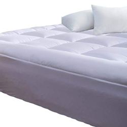 Mattress Topper Full 54×75 Inches Quilted Plush Down Alternative Pillow Top Fitted Skirt Protector Mattress Pad Reviver Enhancer Deep Pocket Fits 20 Inches Soft White Be (Microfiber, Full 54x75Inches)