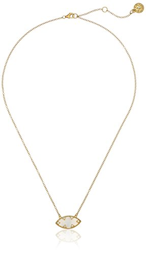 """31S r1oUr1L Gold-plated sterling silver necklace featuring faceted mother of pearl pendant in side-set marquise cut with mini cubic zirconia accents Items containing natural stones may have slight variances in size, shape and color 16"""" cable chain with lobster-claw clasp and 2"""" extender"""