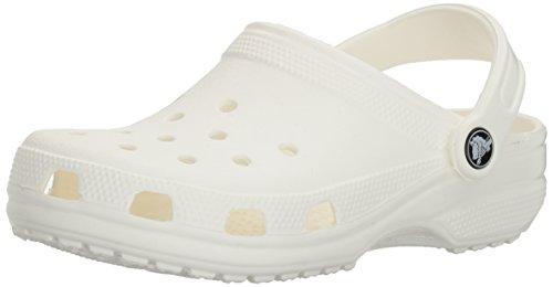 Crocs Men's and Women's Classic Clog, Comfort Slip On Casual Water Shoe, Lightweight, White, 9 US Women / 7 US Men