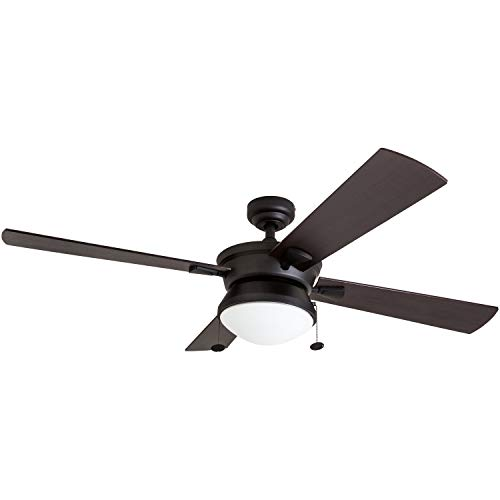 Prominence Home 50345-01 Auletta Outdoor Ceiling Fan, 52' ETL Damp Rated 4 Blades, LED Frosted Contemporary Light Fixture, Matte Black