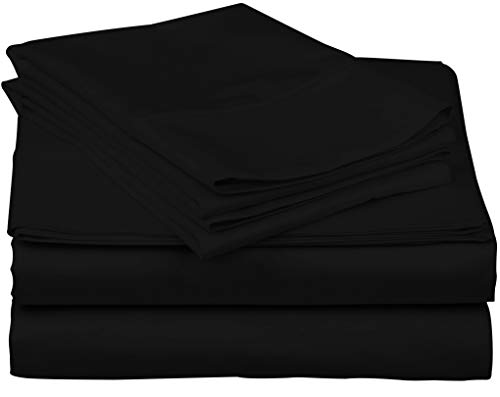 True Luxury 1000-Thread-Count 100% Egyptian Cotton Bed Sheets, 4-Pc King Black Sheet Set, Single Ply Long-Staple Yarns, Sateen Weave, Fits Mattress Upto 18'' Deep Pocket