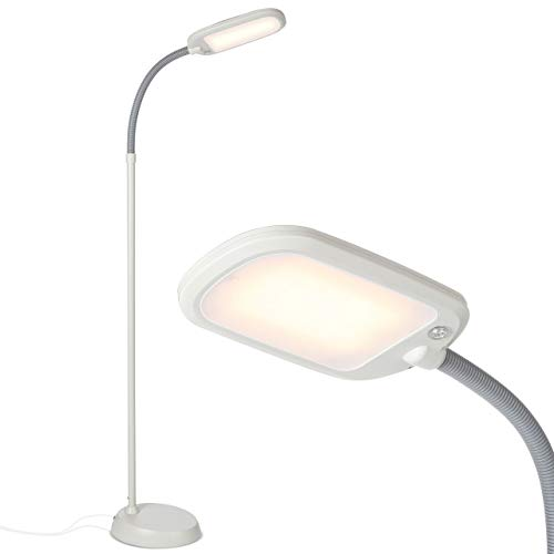 Brightech Litespan Slim - LED Reading & Craft Floor Lamp - Dimmable & Light Color Adjustable with Touch Switch - Standing Tall Pole Task Lamp with Gooseneck for Office - Alpine White
