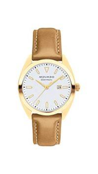 Movado Women's Heritage Yellow Gold Watch with Printed Index Dial, Brown/Silver/Gold (Model 3650036)