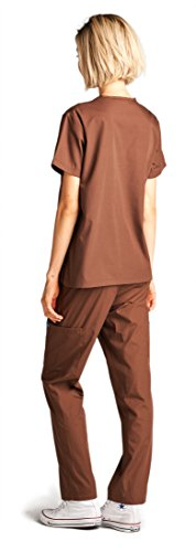 Dagacci Medical Uniform Girl and Man Scrub Set Unisex Medical Scrub Prime and Pant, BROWN, S deal 50% off 31Sq7hKUtsL