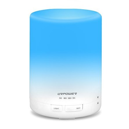 URPOWER 2nd Gen 300ml Aroma Essential Oil Diffuser Night Light Ultrasonic Air Humidifier with AUTO Shut off and 6-7