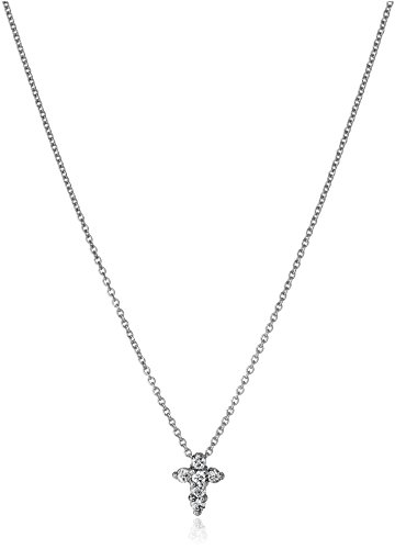 31TPmBvjyeL Pendant necklace in 18k white gold featuring cross set with six pave-set round diamonds and hidden synthetic ruby in back Cable chain with lobster-claw clasp Made in Italy