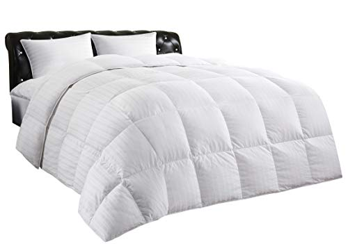 Allrange Luxury White Down Comforter, 100% Cotton, 600 Fill Power, Box Quilted Duvet with Corner Tabs, 300 Thread Count, Down Proof Shell, Soft Comfortable Quilt, Machine Washable, Twin Size
