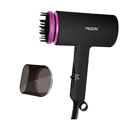 Professional Ionic Portable Folding Hair Dryer, Best 1500W Ceramic Tourmaline Blow Dryer with comb attachment, Compact Small Size Lightweight for Travel, Quiet Mini Hairdryer – Deluxe Soft Touch Body