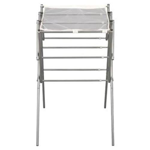 Household Essentials Collapsible Expandable Metal Clothes Drying Rack, Satin Silver