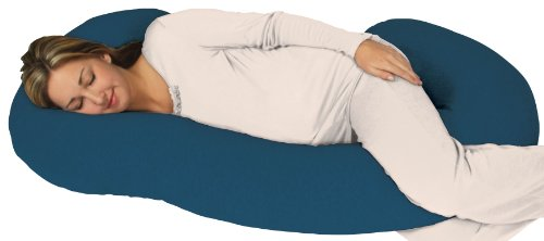 Snoogle Chic Jersey - Snoogle Total Body Pregnancy Pillow with Jersey Knit Easy on-off Zippered Cover - Teal