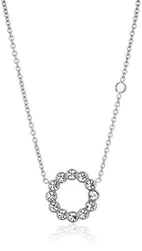 """31U3NuSYstL A subtle approach to everyday glam, our steel pendant is decorated with pavé crystals. Measurements: Total Length: 16"""" + 2"""" adjustable chain Closure: Lobster Clasp"""