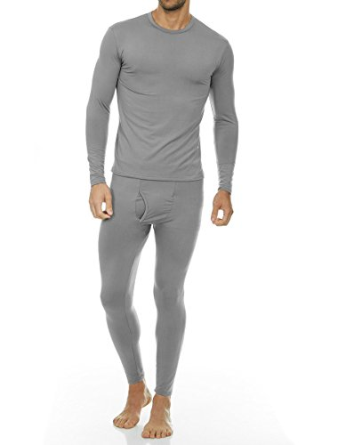 Thermajohn Men's Ultra Soft Thermal Underwear Long Johns Set with Fleece Lined (Large, Grey)