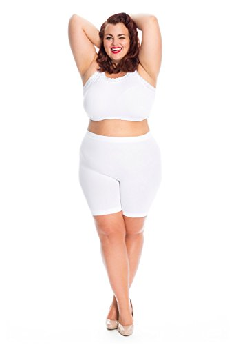 "All Woman Plus Size Anti Chafing Short Leg Panties NO Riding UP- Single Pair (US14/18 Waist to 42"", White)(UK18/22)"