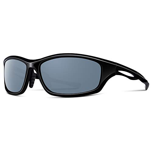 Alpment HD Polarized Sports Sunglasses Driving Glasses for Men Women Cycling Fishing Golf Skiing TR90 Unbreakable Frame with Adjustable Temple, Rectangular Dark Grey Lens