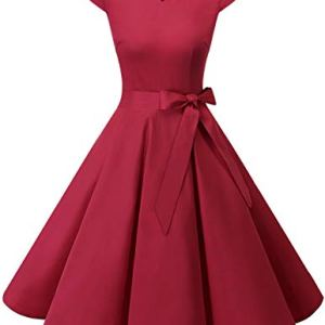 DRESSTELLS Retro 1950s Cocktail Dresses Vintage Swing Dress with Cap-Sleeves 16 Fashion Online Shop gifts for her gifts for him womens full figure