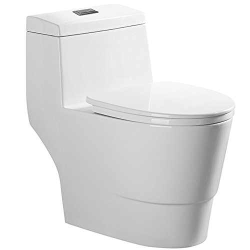 WoodBridge T-0001, Dual Flush Elongated One Piece Toilet with Soft Closing Seat, Comfort Height, Water Sense, High-Efficiency