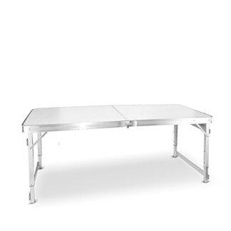 Zfggd Semplice tavolo pieghevole, tavolo da campeggio all'aperto Scrivania per computer, tavolo da pranzo tavolo da pranzo, tavolo in alluminio portatile tavolo in fibre di legno, 150cm * 60cm * 55-70