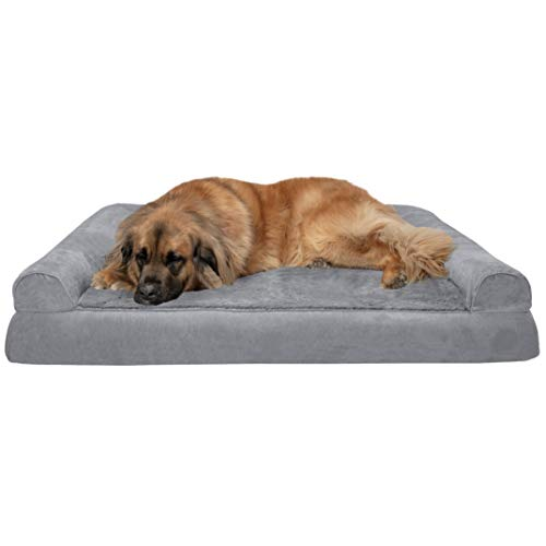 Furhaven Pet Dog Bed | Orthopedic Ultra Plush Faux Fur & Suede Traditional...