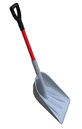 TABOR TOOLS J218 Mulch/Snow Scoop with Strong Fiberglass Handle, Large Snow Shovel with Comfortable D-Grip 26' Handle (Snow Shovel)