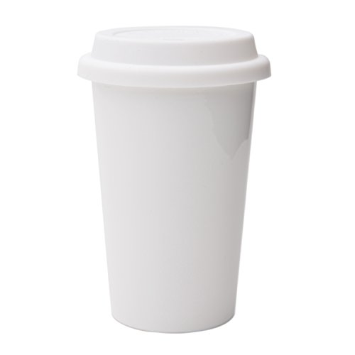 UDMug Reusable Double Wall Insulated White Ceramic Travel Coffee Cup with Lid & Sleeve, 12 fl.oz, I Am Not a Paper Cup
