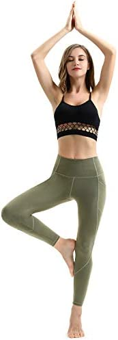 AFITNE Women's High Waist Yoga Pants with Pockets, Tummy Control Workout Running 4 Way Stretch Yoga Leggings 5