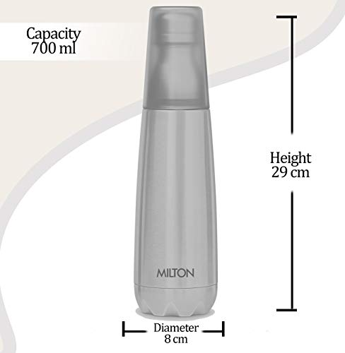 31W9 bhRMwL - Milton Vertex -750 Thermosteel  Water Bottle with Unbreakable Tumbler, 750 ml, Silver
