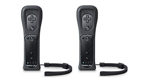 LION FISH - Motion Plus Remote Controller (2 Packs) for Nintendo Wii Video Game Gamepads. (Black)