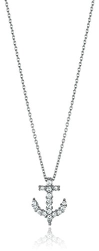 31WCuvtelIL Items containing natural stones may have slight variances in size, shape and color Necklace: L-18 in 18K White & Diamond Baby Anchor Necklace