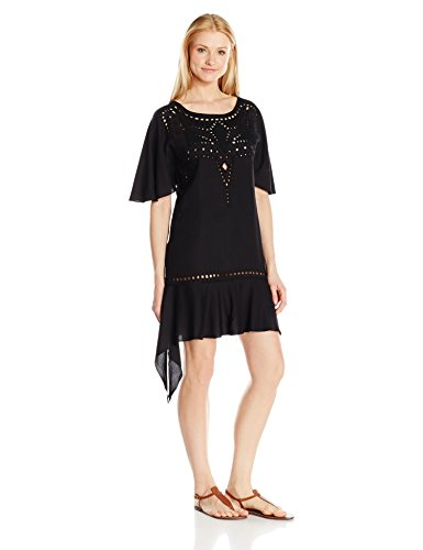 71G7q4d0XeL Laser cutout details center front Cross stitched pattern detail Ruffle finish on sleeves and hemline